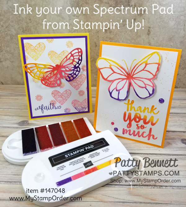 Ink your own Stampin' UP! spectrum ink pad with a rainbow of ink refills!  Hearts & flowers from the Ribbon of Courage stamp set, and butterfly die cut from the Springtime Impressions thinlits. Butterfly stamp from Beautiful Day set. Details at www.PattyStamps.com