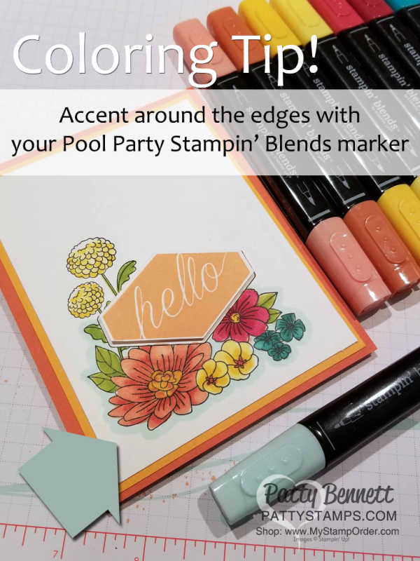 Coloring tip for the Accented Blooms floral note cards, handstamped and colored with Stampin' Blends alcohol markers by Patty Bennett, www.PattyStamps.com