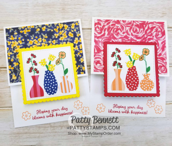 Varied Vases card idea featuring Stampin' UP! Garden Impressions 6x6 paper stack, and 2018-2020 In Color 6x6 paper stack, by Patty Bennett, www.PattyStamps.com
