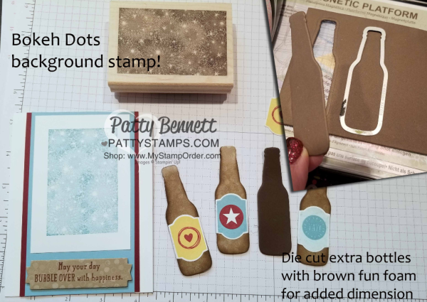 Bubble Over Soda Pop card featuring Bokeh Dots background, fun foam bottles, and sequin bubbles! Stampin' Up! products. Card by Patty Bennett www.PattyStamps.com