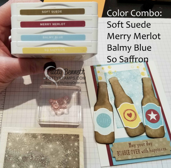 Color Combo for Bubble Over Soda Pop card featuring Bokeh Dots background, fun foam bottles, and sequin bubbles! Stampin' Up! products. Card by Patty Bennett www.PattyStamps.com