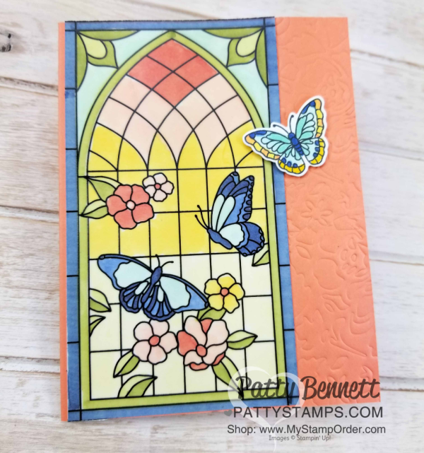 Graceful Glass vellum card colored with Stampin' Blends alcohol markers, mounted on Grapefruit Grove card base embossed with the Detailed Floral framelit and embossing mat.  Stained Glass card by Patty Bennett, www.PattyStamps.com