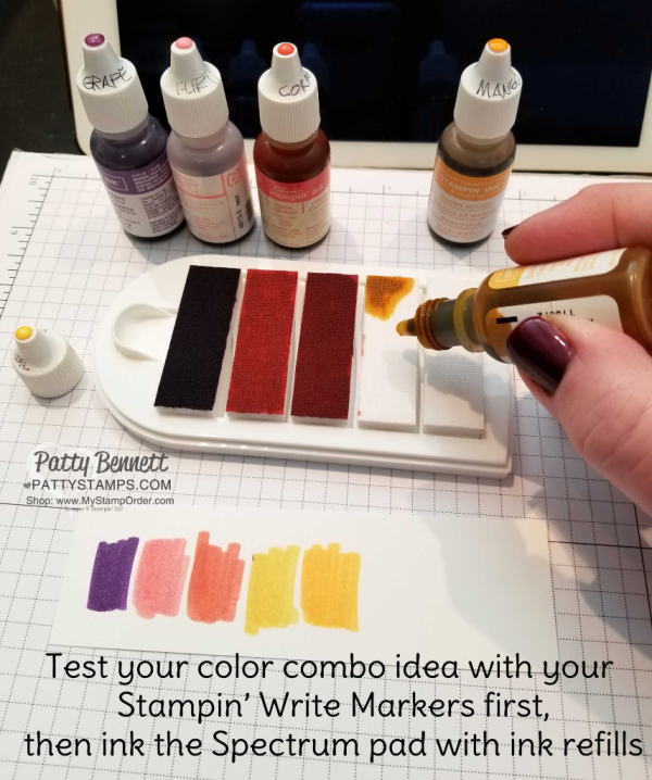 Tips for Inking your own Stampin' UP! spectrum ink pad with a rainbow of ink refills!  Details at www.PattyStamps.com