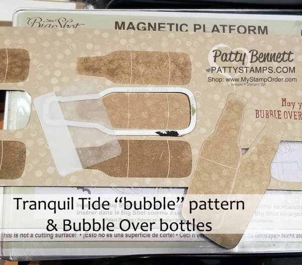 """Stamp bottles on the """"bubble"""" pattern paper in the Tranquil Tide designer series paper pack for a little soda pop fun!"""