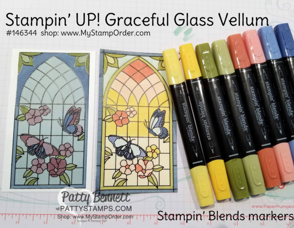 Stampin' UP! Graceful Glass vellum colored with Stampin' Blends markers by Patty Bennett