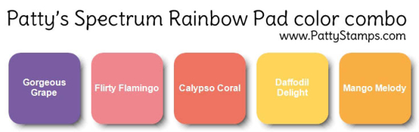 Rainbow spectrum pad color combo pattystamps stampin up idea