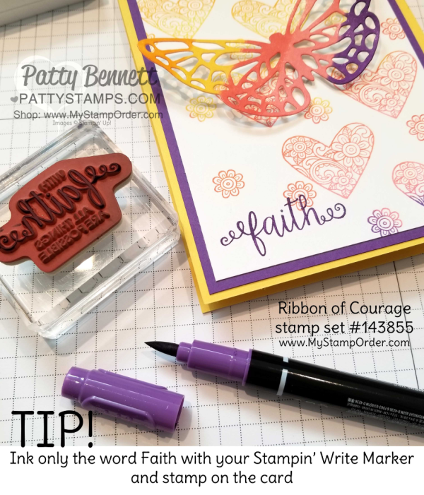 Ink your own Stampin' UP! spectrum ink pad with a rainbow of ink refills!  Hearts & flowers from the Ribbon of Courage stamp set, and butterfly die cut from the Springtime Impressions thinlits. Details at www.PattyStamps.com