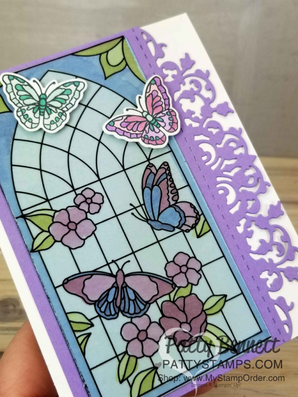 Graceful Glass vellum stained glass butterfly card colored with Stampin' Blends alcohol markers. Handmade card finished with Delicate Lace Edgelit die cut, by Patty Bennett, www.PattyStamps.com