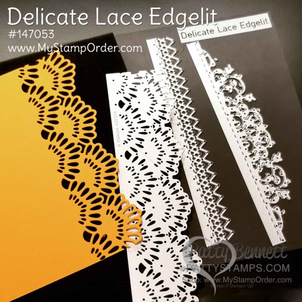 Delicate lace edgelits from Stampin' UP!.  #147053 available at www.MyStampOrder.com