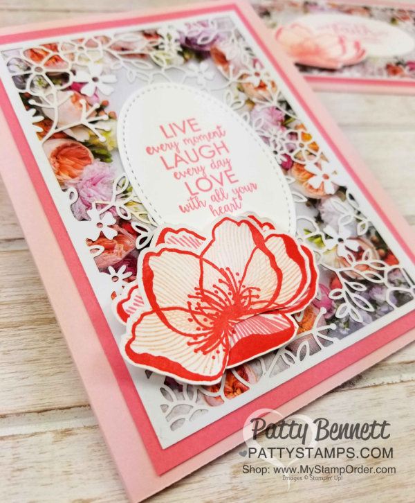 Flower card ideas featuring Stampin' UP! Petal Promenade designer paper and Delightfully Detailed Laser-cut specialty paper with greeting from Ribbon of Courage set, by Patty Bennett www.PattyStamps.com