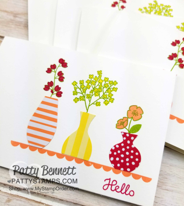 Varied Vases clean and simple Stampin' Up! card with fun summer color combo by Patty Bennett, www.PattyStamps.com