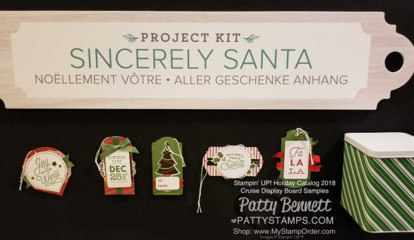 Stampin Up! Holiday Catalog 2018 preview Sincerly Santa Christmas Tag kit  www.PattyStamps.com