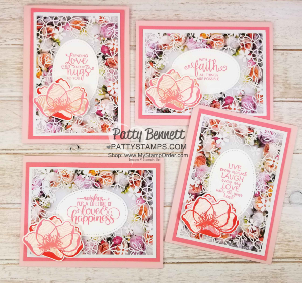 Flower card ideas featuring Stampin' UP! Petal Promenade designer paper and Delightfully Detailed Laser-cut specialty paper with Ribbon of Courage greetings, by Patty Bennett www.PattyStamps.com
