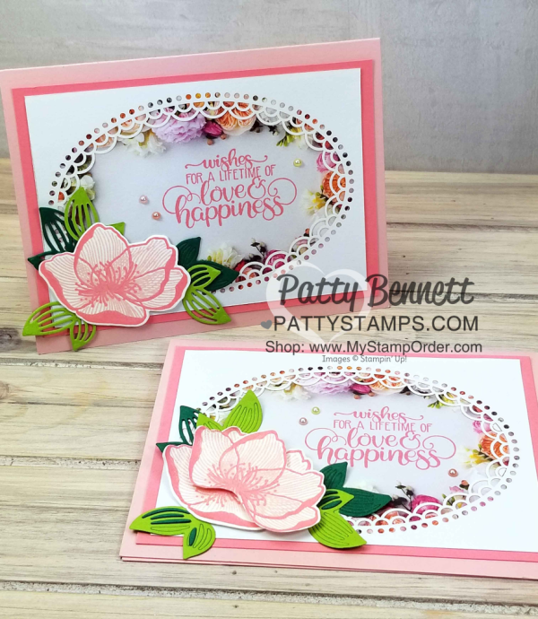 Flower card ideas featuring Stampin' UP! Petal Promenade designer paper and Delightfully Detailed Laser-cut specialty paper with greeting from Dandelion Wishes set, by Patty Bennett www.PattyStamps.com
