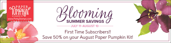 Save 50% on your August Paper Pumpkin papercrafting kit from Stampin' UP! - offer valid through Aug. 10, 2018 to new subscribers!