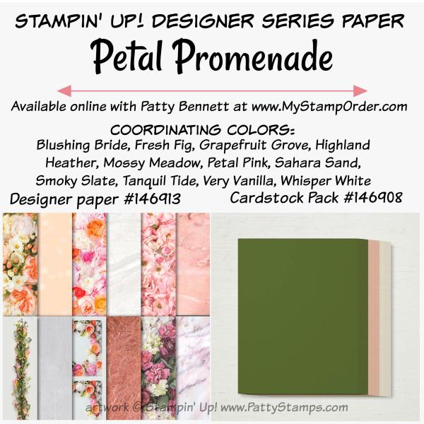 Petal promenade dsp paper cardstock stampin up pattystamps