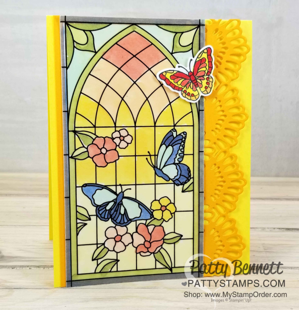 Graceful Glass vellum stained glass window card colored with Stampin' Blends alcohol markers. Handmade card finished with Delicate Lace Edgelit die cut, by Patty Bennett, www.PattyStamps.com