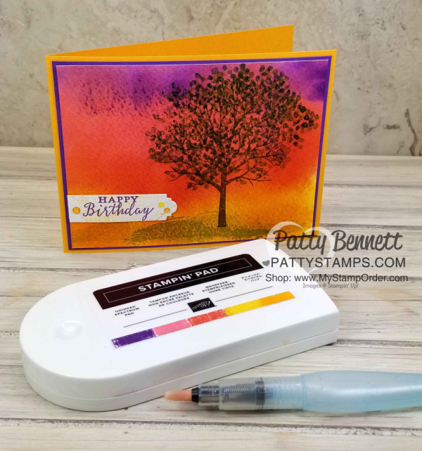 Ink your own Spectrum rainbow pad with Stampin' UP! ink refills.  Use the Direct to Paper technique and water to create a beautiful sunset background for the Sheltering Tree card.  Created by Patty Bennett, www.PattyStamps.com