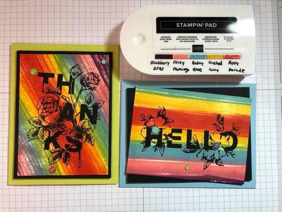 Stampin' UP! Rainbow / Spectrum pad idea from the Luv 2 Stamp Group. ink your own rainbow with ink refills! available at www.MyStampOrder.com