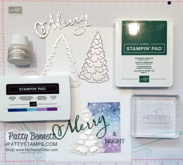 Supplies for Merry & Bright Christmas card idea featuring Stampin' UP! Merry Christmas to All bundle, and In the Woods tree die cut, paired with inked spectrum rainbow pad and the Bokeh Dots background stamp. Card by Patty Bennett, www.PattyStamps.com