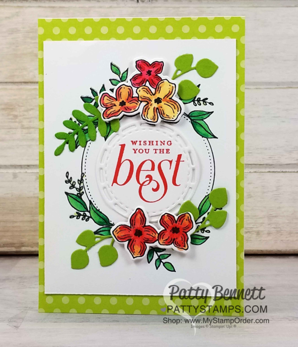 Stampin' UP! Floral Frames note card colored with Stampin' Blends makers, by Patty Bennett, www.PattyStamps.com