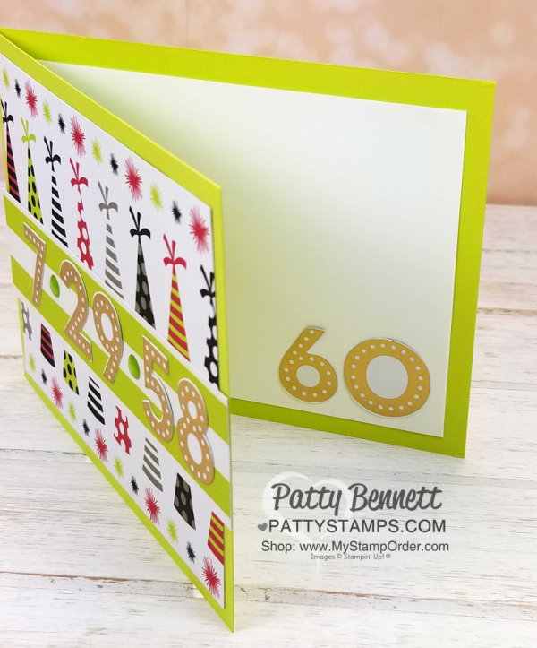 60th birthday card idea featuring Stampin' Up! Broadway Bound specialty paper, by Patty Bennett www.PattyStamps.com