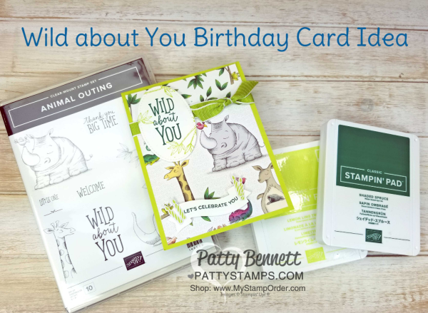 Wild About You jungle themed birthday card idea featuring Stampin' UP! Animal Outing stamp set, Animal Expedition designer paper and One For All Happy Birthday stamp on the inside of the card. Patty Bennett, www.PattyStamps.com