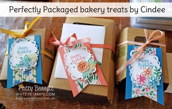 Gift Packaging idea for Panera Bread scones featuring Stampin' Up! Abstract Impressions bundle, Garden Impressions paper and Springtime Impressions floral die cut, by Cindee.