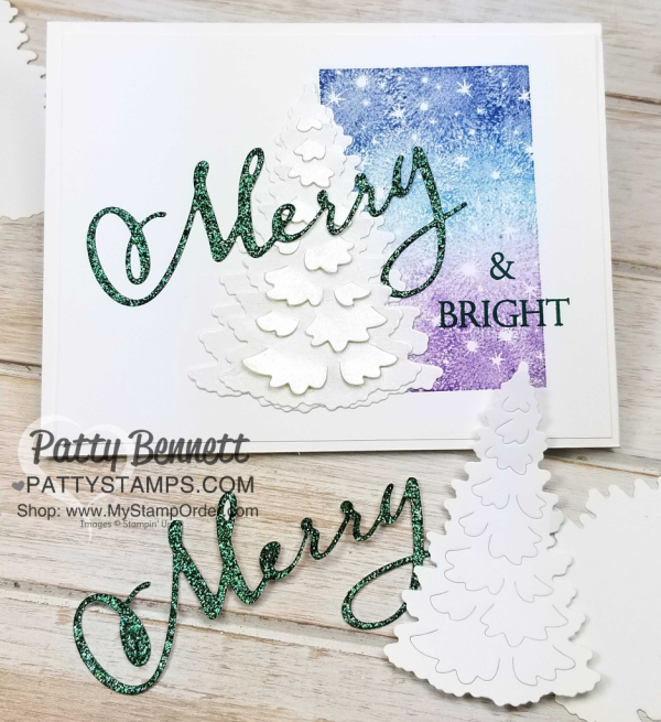 Merry & Bright Christmas card idea featuring Stampin' UP! Merry Christmas to All bundle, and In the Woods tree die cut, paired with inked spectrum rainbow pad. Card by Patty Bennett, www.PattyStamps.com