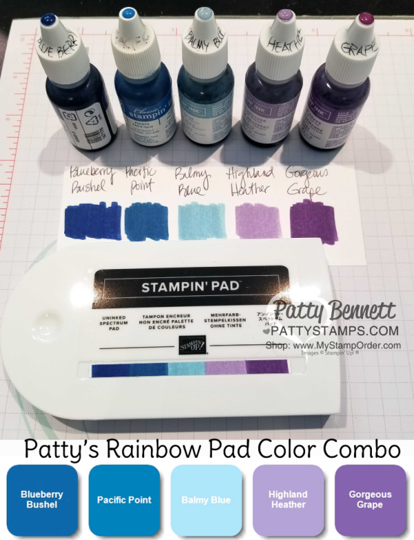 Color Combo suggestion for Stampin' UP!  inked spectrum rainbow pad  by Patty Bennett, www.PattyStamps.com
