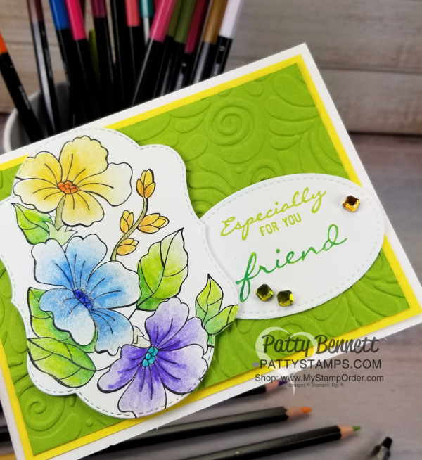 Blended Season flower image from Stampin' UP! colored with watercolor pencils and Wink of Stella glimmer pen.  Swirls & Curls embossing folder background.  Card by Patty Bennett, www.PattyStamps.com