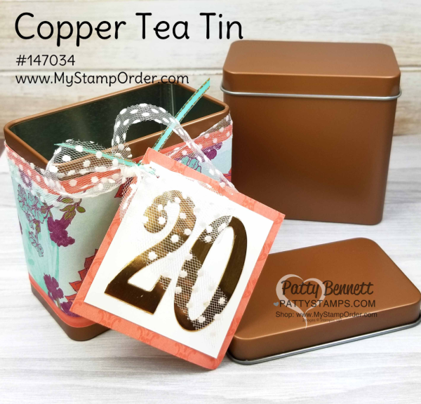 Tea room suite from Stampin' Up!: decorated copper tin celebrating Christine's 20th anniversary as a demonstrator.  Projects by Patty Bennett, www.PattyStamps.com