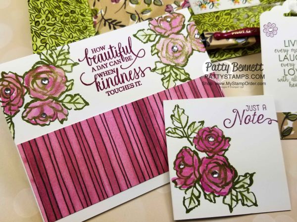 DIY Stationery Box with handmade cards, featuring Stampin' Up! Share What You Love designer paper and Petal Palette stamp set by Leticia.