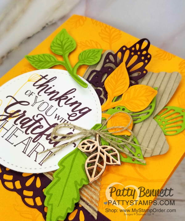 Stampin Up! fall card idea featuring Falling for Leaves stamp set and Detailed Leaves thinlit dies, and Corrugated embossing folder.  www.PattyStamps.com