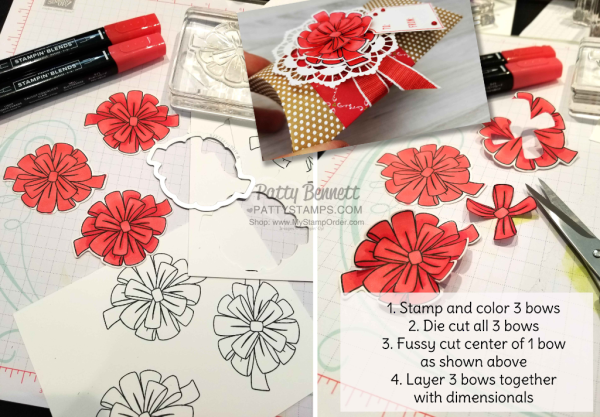 Pillow Boxes from Stampin' UP! perfect for giving gift cards anytime of year!  Layered bows from the Bring on the Presents bundle.  #149926 at www.MyStampOrder.com.  Project by Patty Bennett www.PattyStamps.com