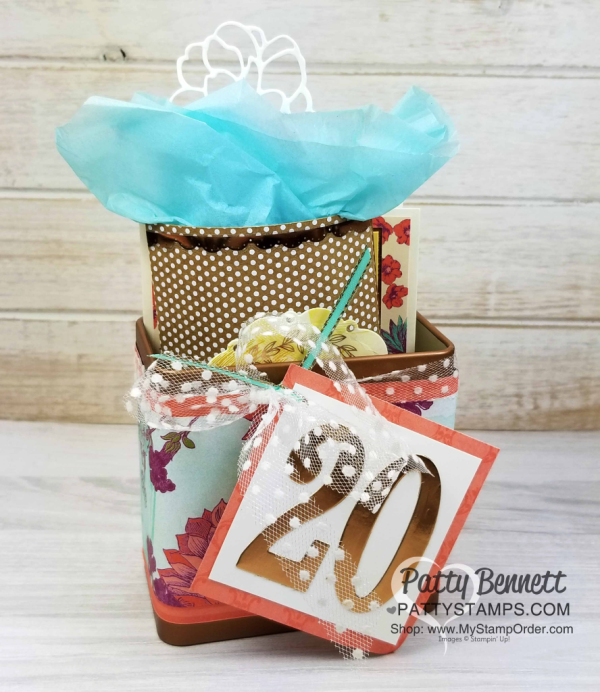 Tea room suite from Stampin' Up!: card pillow box and copper tin celebrating Christine's 20th anniversary as a demonstrator.  Projects by Patty Bennett, www.PattyStamps.com