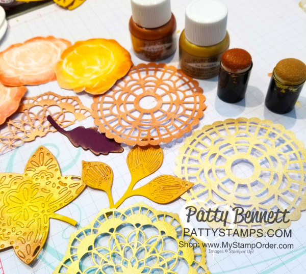 Find fun paper crafting projects to use with your Shimmer Paint, like these doilies, die cut leaves and stamped flowers from Stampin' Up!  www.PattyStamps.com