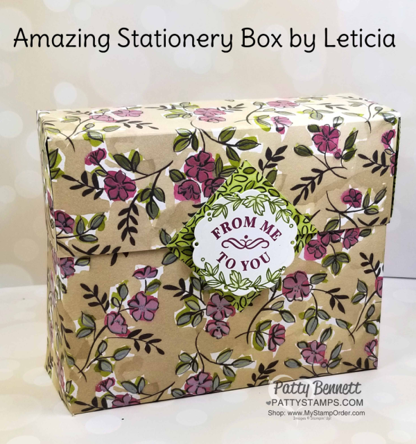 DIY Stationery Box featuring Stampin' Up! Share What You Love designer paper by Leticia.