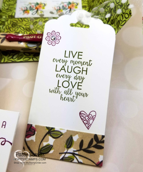 DIY Stationery Box with handmade tags, featuring Stampin' Up! Share What You Love designer paper and Ribbon of Courage stamp set by Leticia.