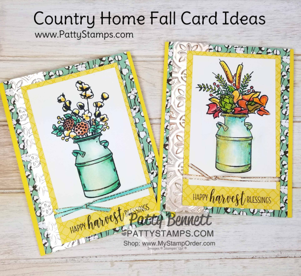 Stampin' UP! Tin Tile embossing folder and Country Home stamp set card idea, colored with Stampin' Blends & highighted with Vegas Gold Shimmer paint by Patty Bennett, www.PattyStamps.com