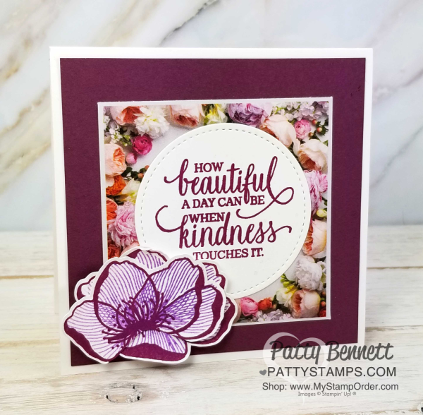 Beautiful Promenade stamp set and Petal Promenade designer paper from Stampin' UP! - 4x4 square card idea with unique layered flower technique!  Patty Bennett - www.PattyStamps.com