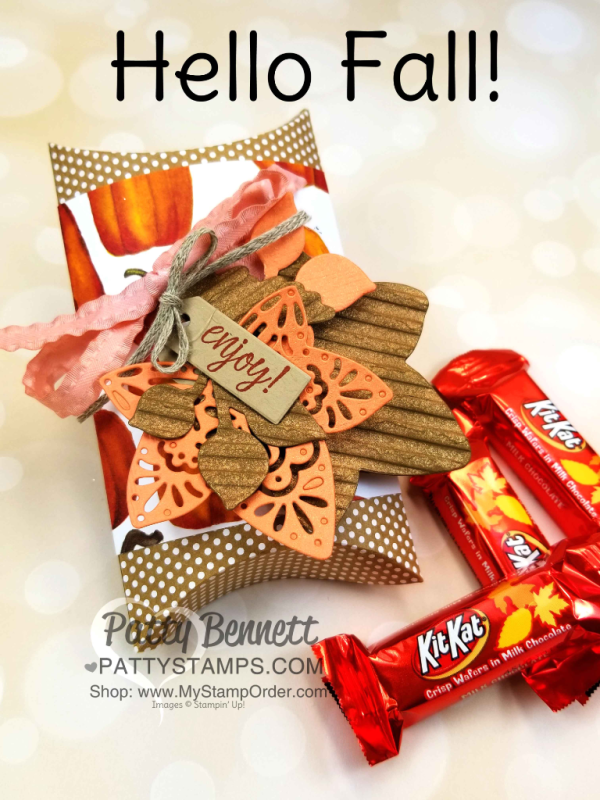 Fall leaf die cuts featuring Stampin' UP! Corrugated embossing folder, copper shimmer paint and Detailed Leaves thinlits. Pillow box candy treat idea by Patty Bennett, www.PattyStamps.com