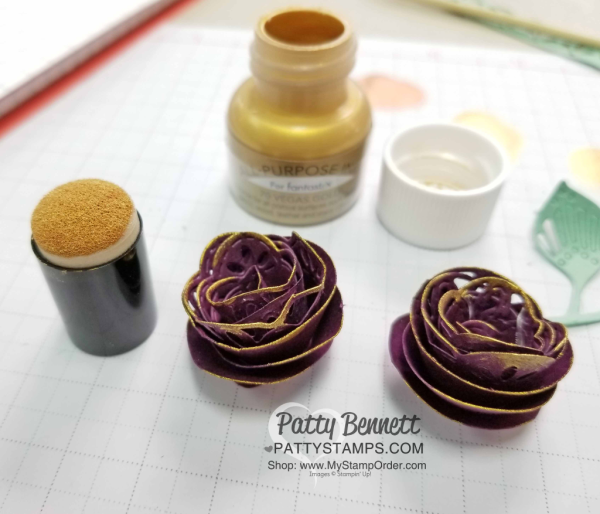 Stampin' UP! paper rosettes featuring the Detailed Leaves framelit dies and Shimmer Paint! Patty Bennett, www.PattyStamps.com