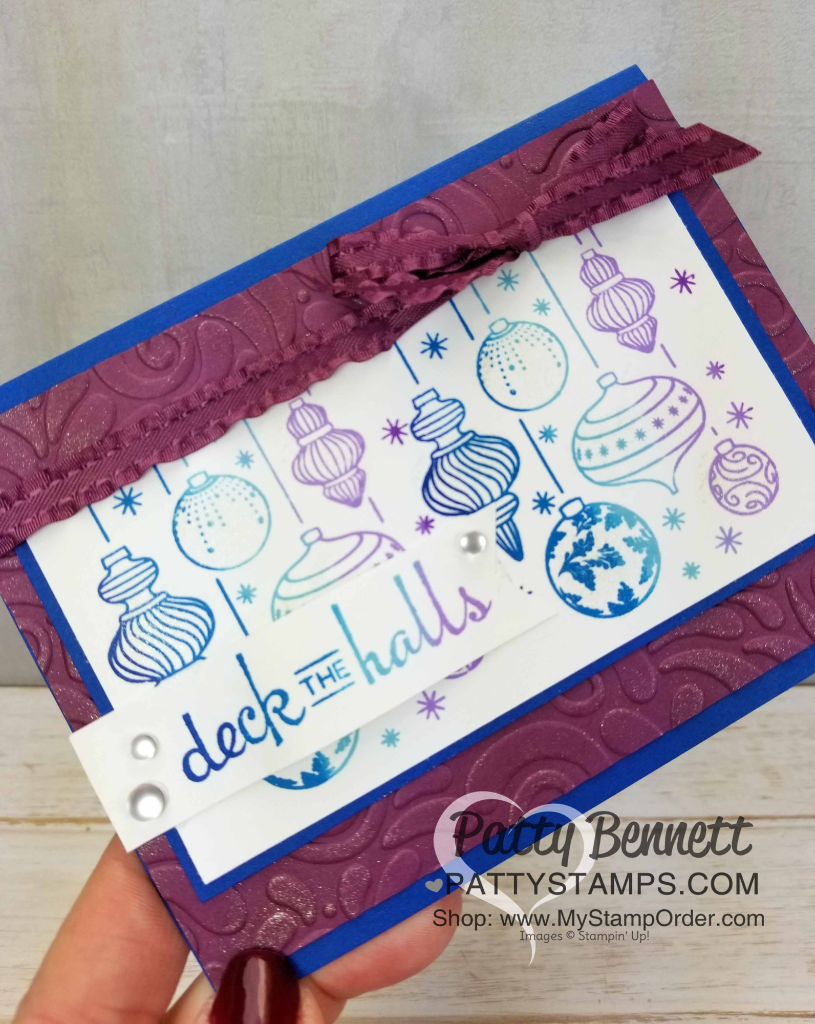 Christmas card idea featuring Stampin' Up! Beautiful Baubles stamp set and my blues/purples Rainbow Spectrum Pad.  Swirls & Curls embossing folder background. By Patty Bennett, www.PattyStamps.com