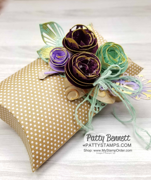 Stampin' UP! Pillow Box with paper rosettes featuring the Detailed Leaves framelit dies and Shimmer Paint! Patty Bennett, www.PattyStamps.com