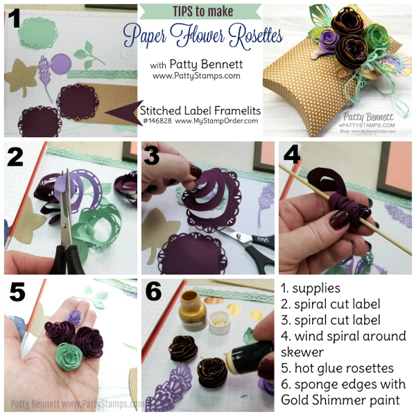 Directions: how to make paper flower rosettes for the Stampin' UP! Pillow Box with paper rosettes featuring the Detailed Leaves framelit dies and Shimmer Paint! Patty Bennett, www.PattyStamps.com