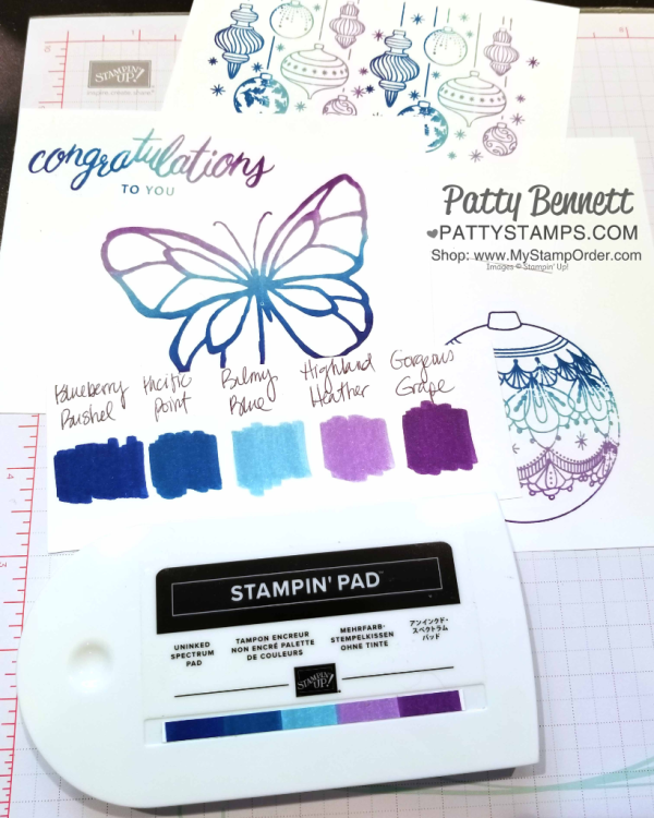 Spectrum Rainbow Pad inked with Stampin' UP! ink refills by Patty Bennett www.PattyStamps.com