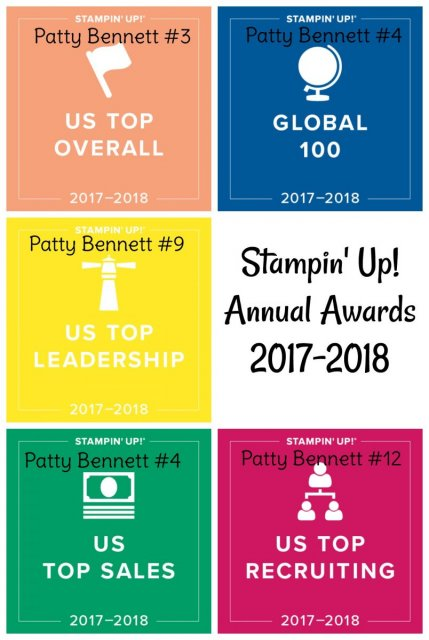 Patty Bennett, Independent Stampin' UP! demonstrator #3 overall U.S. 2017-2018
