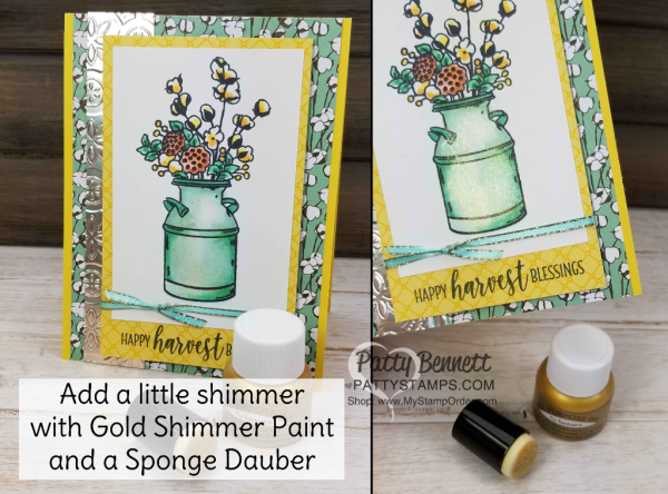 Vegas Gold Shimmer Paint tip featuring Stampin' Up! Country Home stamp set, by Patty Bennett www.PattyStamps.com