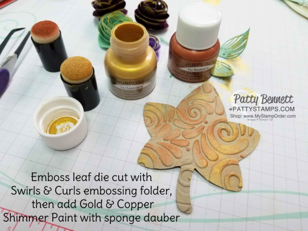 Vegas Gold &  Copper Shimmer Paint tip featuring Stampin' Up! Detailed Leaves framelit and Swirls & Curls embossing folder Patty Bennett www.PattyStamps.com